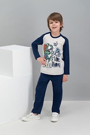 Roly Poly Rolypoly Rugby Dinosaur Kum Beji Erkek Çocuk Pijama Takımı Bej
